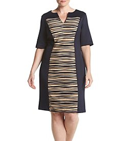 Connected® Plus Size Scuba Pleat Center Panel Dress