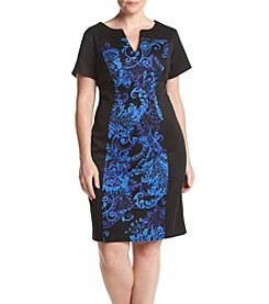 Connected® Plus Size Printed Panel Side Dress