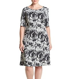 Connected® Plus Size Printed Scuba Pane Dress