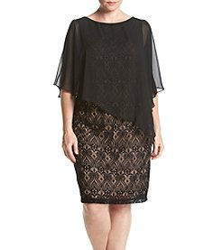 Connected® Plus Size Lace Cap Overlay Dress