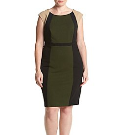 Connected® Plus Size Crepe Scuba Color Block Dress