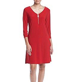 Lennie V Neck Zipper Swing Dress