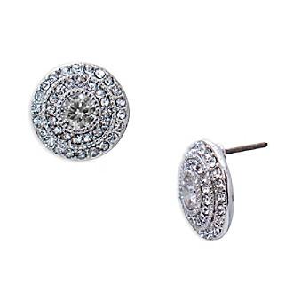 Lauren Ralph Lauren Social Set Silvertone Round Vintage Crystal Stud Pierced Earrings