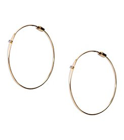 Lauren Ralph Lauren Fringe Worthy Goldtone Large Crystal Hoop Pierced Earrings