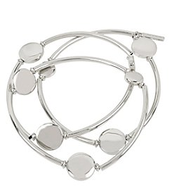 Kenneth Cole® Circle Stretch Silvertone Bracelet Set
