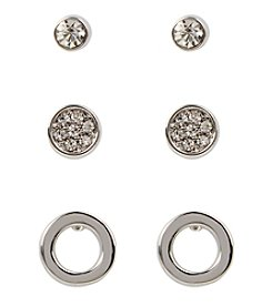 Kenneth Cole® Pave Silvertone Stud Earrings Set