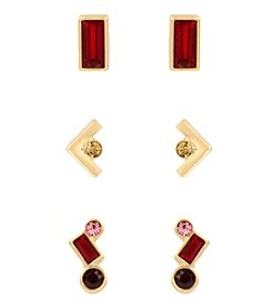 Kenneth Cole® Goldtone Ruby Faceted Stone Stud Earrings Set