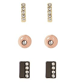 Kenneth Cole® Tri Tone Pave Mixed Metal Stud Earrings Set