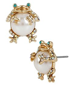 Betsey Johnson® Goldtone Pearl Frog Stud Earrings