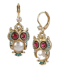 Betsey Johnson® Goldtone Simulated Pearl Owl Drop Earrings