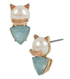 Betsey Johnson® Goldtone Simulated Pearl Cat Stud Earrings