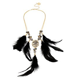 Betsey Johnson® Goldtone Feather Drama Frontal Necklace