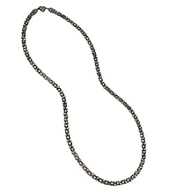 Betsey Johnson® Hematite Tone Faceted Stone Chain Long Necklace