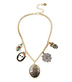 Betsey Johnson® Goldtone Cameo Skull Mixed Multi Charm Frontal Necklace