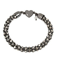 Betsey Johnson® Hematite Tone Faceted Stone Chain Bracelet