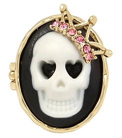 Betsey Johnson® Goldtone Cameo Skull Ring