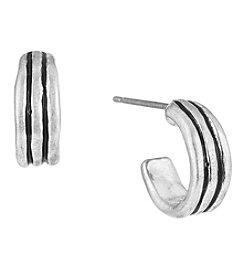 The Sak® Silvertone Ribbed Small Hoop Earrings