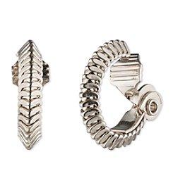 Anne Klein® Silvertone Clip Hoop Earrings