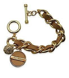GUESS Goldtone Faux Ostrich Charm Bracelet