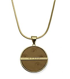 GUESS Goldtone Ostrich PU  Pendant Necklace