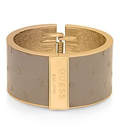 GUESS Goldtone Hinged Faux Ostrich Leather Bracelet