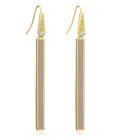 GUESS Goldtone Faux Ostrich Linear Fish Hook Earrings