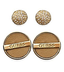 GUESS Goldtone Faux Ostrich And Fireball Duo Ear Set