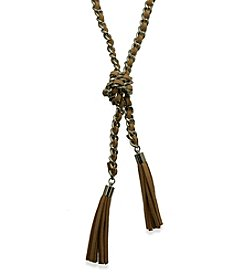 GUESS Silvertone Tassel Suede Necklace