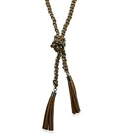 GUESS Silvertone Tassel Suede Necklace