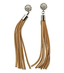 GUESS Silvertone Crystal Accent Tassel Drop Earrings