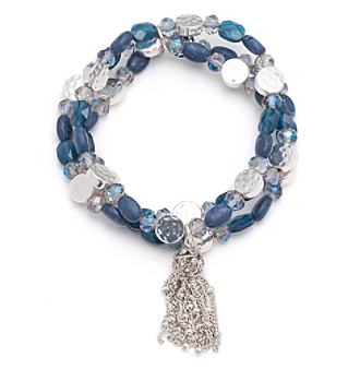 Nine West Vintage America Collection® Silvertone And Denim Beaded Stretch Bracelet With Tassel plus size,  plus size fashion plus size appare