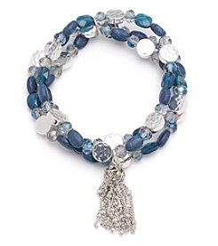 Nine West Vintage America Collection® Silvertone And Denim Beaded Stretch Bracelet With Tassel