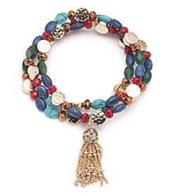 Nine West Vintage America Collection® Goldtone And Multi Beaded Stretch Bracelet With Tassel