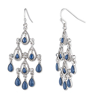 Nine West Vintage America Collection® Silvertone And Denim Chandelier Earrings plus size,  plus size fashion plus size appare