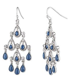 Nine West Vintage America Collection® Silvertone And Denim Chandelier Earrings