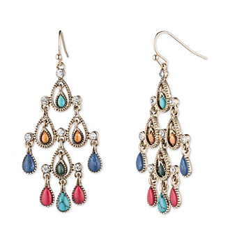 Nine West Vintage America Collection® Goldtone And Multicolored Chandelier Earrings plus size,  plus size fashion plus size appare