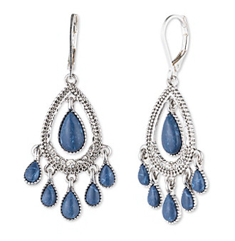 Nine West Vintage America Collection® Silvertone And Denim Teardrop Shaky Orbital Earrings plus size,  plus size fashion plus size appare
