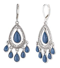 Nine West Vintage America Collection® Silvertone And Denim Teardrop Shaky Orbital Earrings
