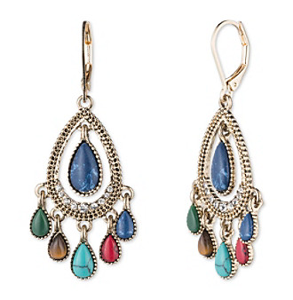 Nine West Vintage America Collection® Goldtone And Multi Teardrop Shaky Orbital Earrings plus size,  plus size fashion plus size appare