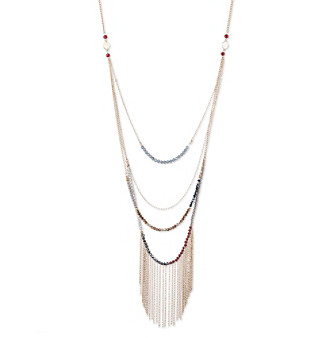 Nine West Vintage America Collection® Goldtone And Multicolored Layered Drama Fringe Necklace plus size,  plus size fashion plus size appare
