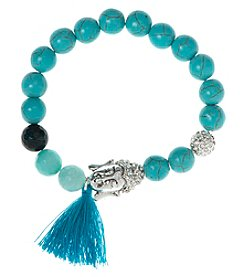 Nine West Vintage America Collection® Silvertone And Turquoise Beaded Stretch Bracelet