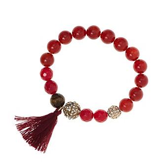 Nine West Vintage America Collection® Goldtone And Coral Beaded Stretch Bracelet