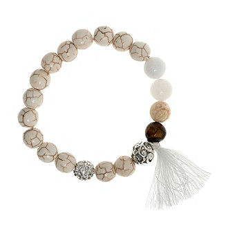 Nine West Vintage America Collection® Silvertone And White Beaded Stretch Bracelet