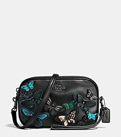 COACH BUTTERLY APPLIQUE CROSSBODY CLUTCH IN PEBBLE LEATHER