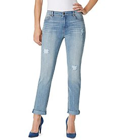 Bandolino® Karyn Slim Boyfriend Jeans With Slight Destruction