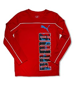 PUMA® Boys' 4-20 Long Sleeve Puma Piped Tee