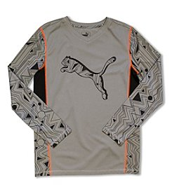 PUMA® Boys' 4-20 Long Sleeve Geo Tee