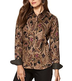 Chaps® Long Sleeve Non-Iron Sleek Paisley Sateen Shirt