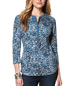 Chaps® Three-Quarter Sleeve Rustic Floral Cotton Henley Top