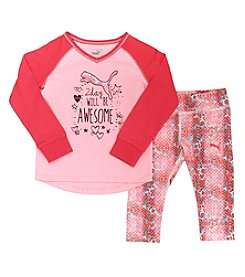 PUMA® Girls' 2T-6X 2-Piece Raglan Tee And Leggings Set